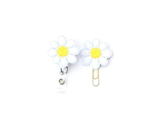 Daisy Flower Badge Reel, Planner Clip, ID Holder, Magnet, Brooch Pin, (1370)
