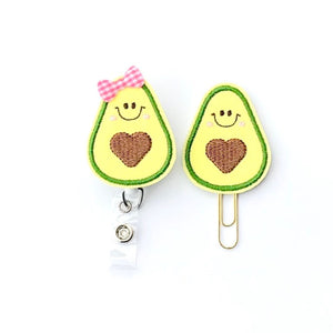 Avocado Badge Reel, Planner Clip, ID Holder, Magnet, Brooch Pin, (1371)