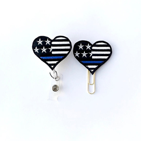 Thin Blue Line Police Badge Reel, Planner Clip, ID Holder, Magnet, Brooch Pin, (1247)