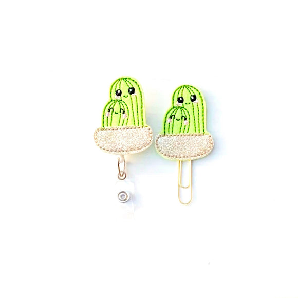 Cactus Succulent Badge Reel, Planner Clip, ID Holder, Magnet, Brooch Pin, (83)