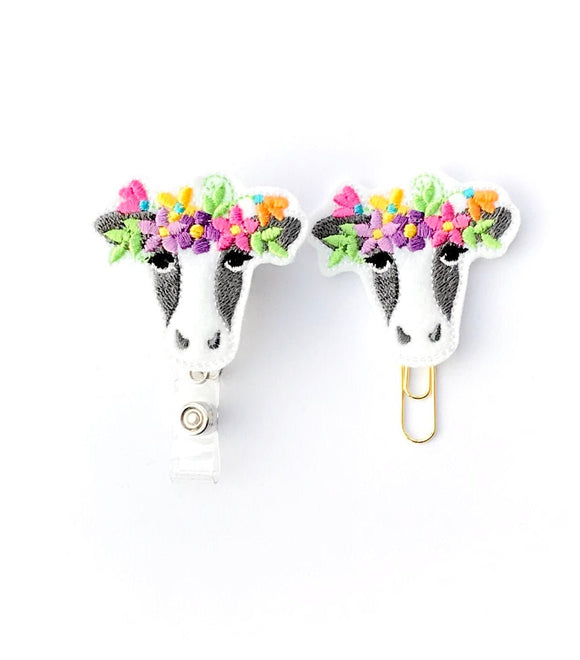 Cow Badge Reel, Planner Clip, ID Holder, Magnet, Brooch Pin,