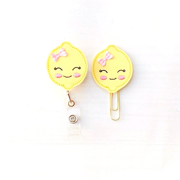 Lemon Badge Reel, Planner Clip, ID Holder, Magnet, Brooch Pin, (1333)