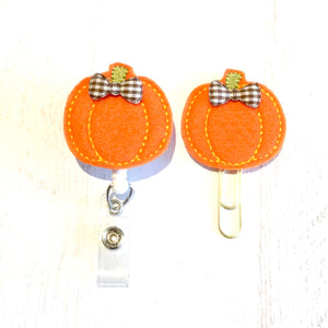 Fall Pumpkin Halloween Badge Reel, Planner Clip, ID Holder, Magnet, Brooch Pin, (85)