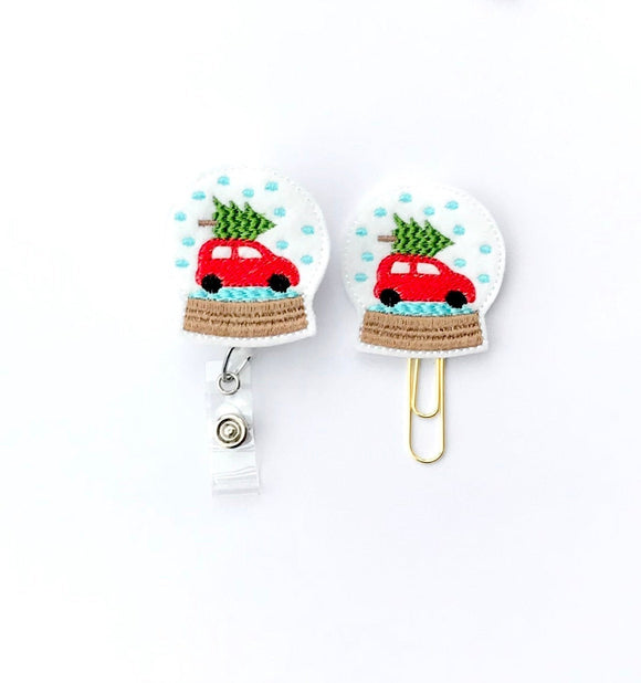 Christmas Snow Globe Badge Reel, Planner Clip, ID Holder, Magnet, Brooch Pin, (1361)