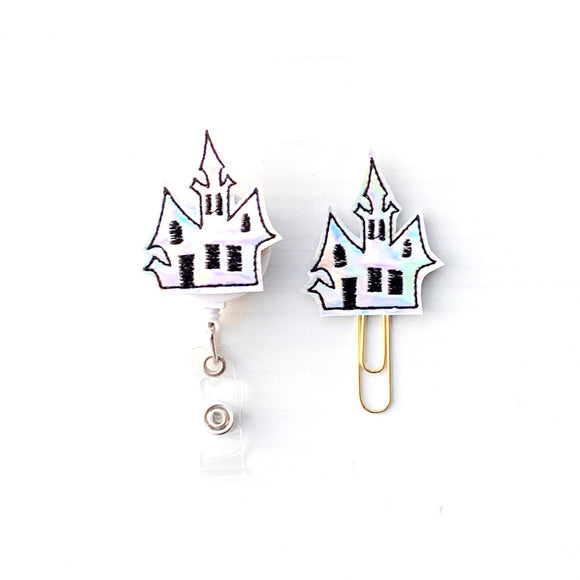 Halloween Holo Haunted House Badge Reel, Planner Clip, ID Holder, Magnet, Brooch Pin, (836)