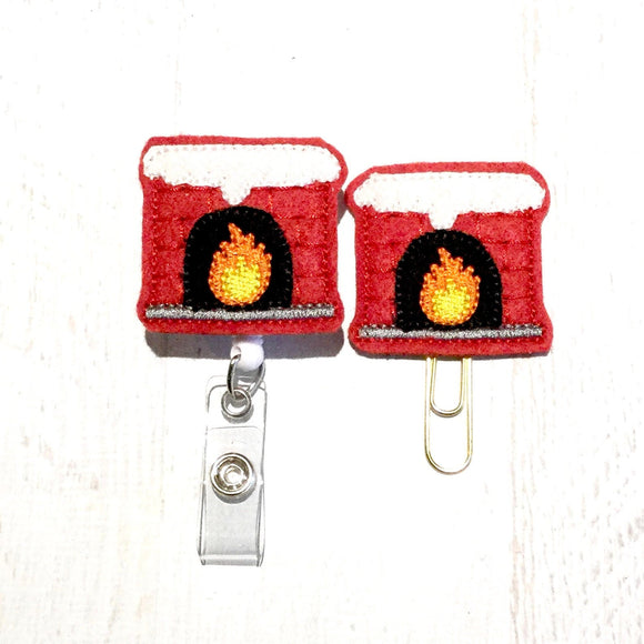 Christmas Fireplace Badge Reel, Planner Clip, ID Holder, Magnet, Brooch Pin, (582)