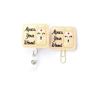 Alpaca Your Wound Nurse Badge Reel, Planner Clip, ID Holder, Magnet, Brooch Pin, (1346)