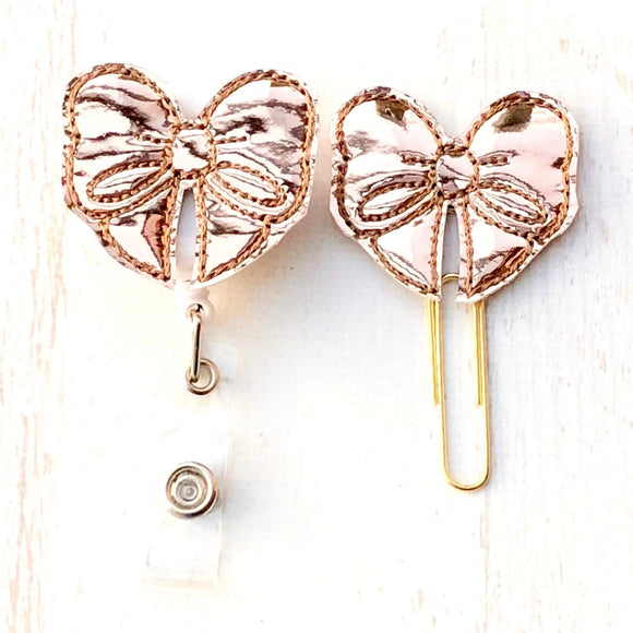 Rose Gold Mirror Bow Badge Reel, Planner Clip, ID Holder, Magnet, Brooch Pin, (11)