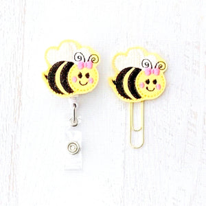 Bumble Bee Badge Reel, Planner Clip, ID Holder, Magnet, Brooch Pin, (73)