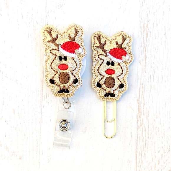 Christmas Glitter Santa Reindeer Badge Reel, Planner Clip, ID Holder, Magnet, Brooch Pin, (66)
