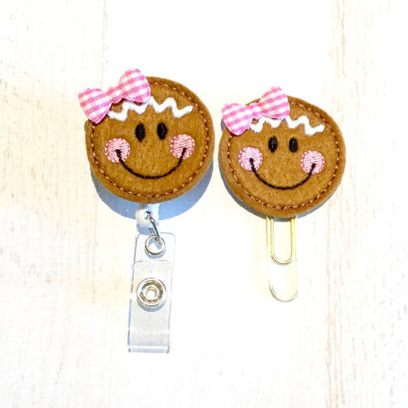 Christmas Gingerbread Girl Badge Reel, Planner Clip, ID Holder, Magnet, Brooch Pin, (503)