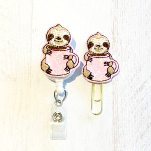 Glitter Coffee Sloth Badge Reel, Planner Clip, ID Holder, Magnet, Brooch Pin, (124)