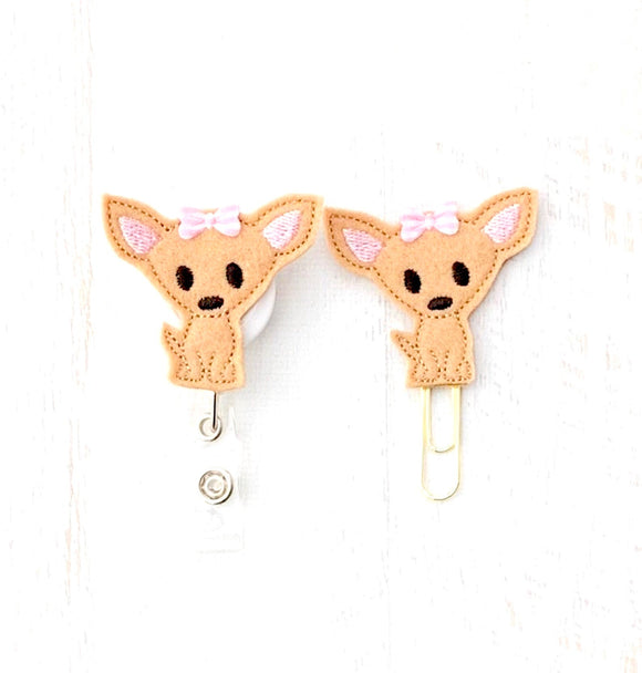 Chihuahua Dog Badge Reel, Planner Clip, ID Holder, Magnet, Brooch Pin, (880)