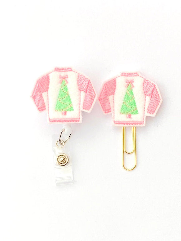 Christmas Sweater Badge Reel, Planner Clip, ID Holder, Magnet, Brooch Pin, (487)