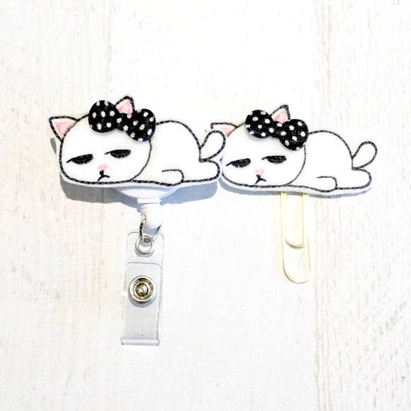 Tired Kitty Cat Badge Reel, Planner Clip, ID Holder, Magnet, Brooch Pin, (403)