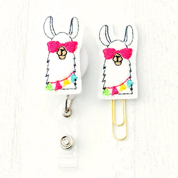 Llama Badge Reel, Planner Clip, ID Holder, Magnet, Brooch Pin, (372)