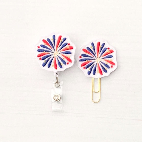 4th Of July Patriotic Fireworks Badge Reel, Planner Clip, ID Holder, Magnet, Brooch Pin, (974)