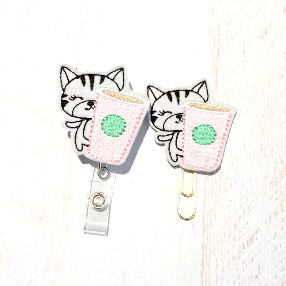 Coffee Kitty Cat Badge Reel, Planner Clip, ID Holder, Magnet, Brooch Pin, (200)