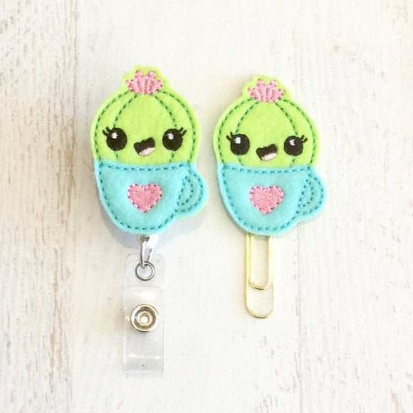Cactus Succulent Badge Reel, Planner Clip, ID Holder, Magnet, Brooch Pin, (633)