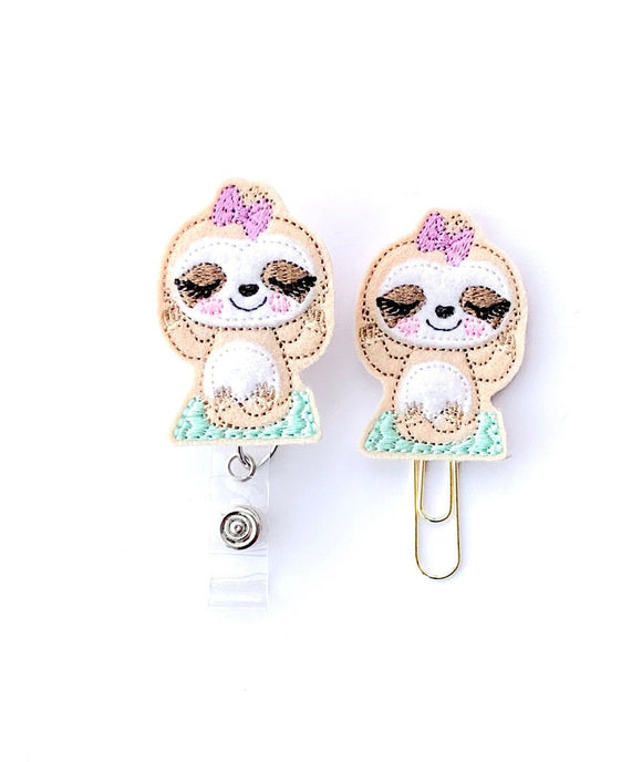Yoga Sloth Badge Reel, Planner Clip, ID Holder, Magnet, Brooch Pin,
