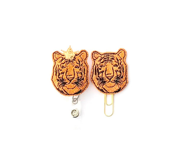 Glitter King Tiger Badge Reel, Planner Clip, ID Holder, Magnet, Brooch Pin,