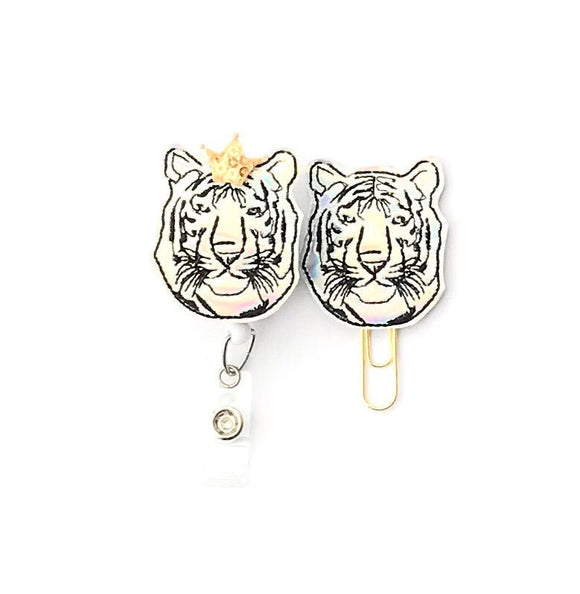 Holo King Tiger Badge Reel, Planner Clip, ID Holder, Magnet, Brooch Pin,