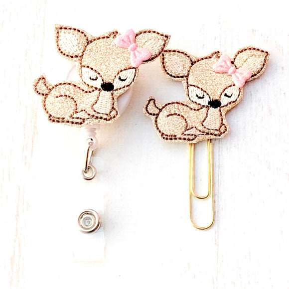 Glitter Deer Badge Reel, Planner Clip, ID Holder, Magnet, Brooch Pin, (646)