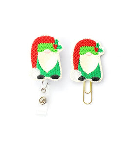 Glitter Christmas Gnome Badge Reel, Planner Clip, ID Holder, Magnet, Brooch Pin, (1206)