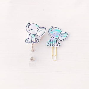 Holo Elephant Badge Reel, Planner Clip, ID Holder, Magnet, Brooch Pin, (1321)