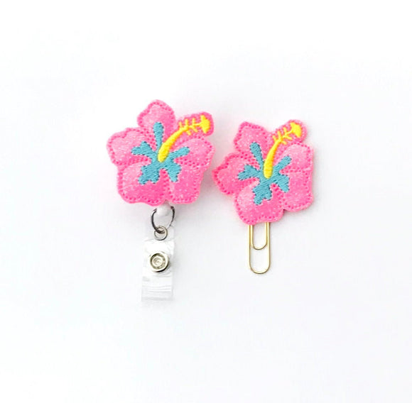 Glitter Pink Hibiscus Flower Badge Reel, Planner Clip, ID Holder, Magnet, Brooch Pin,