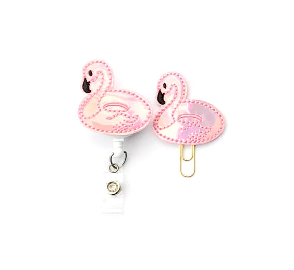 Holo Flamingo Pool Float Badge Reel, Planner Clip, ID Holder, Magnet, Brooch Pin,