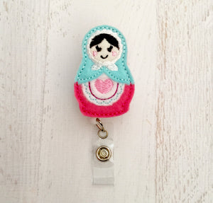Russian Nesting Doll Matryoshka Planner clip l Badge Reel ID Holder l Magnet l Brooch Pin l Paper Clip For Planners | ID Lanyard (840)
