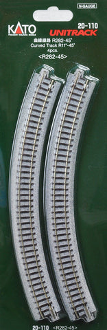 20-110  Ground level Radius 282mm 45 Deg Curved Track