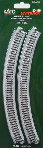 20-120  Ground level Radius 315mm 45 Deg Curved Track