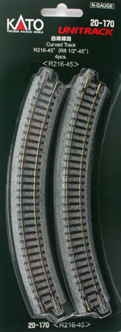 20-170  Ground level Radius 216mm 45 Deg Curved Track