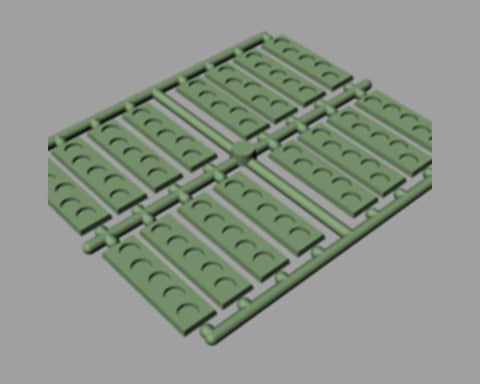 Sprue of 16 Rectangular Infantry Bases w/5 Holes