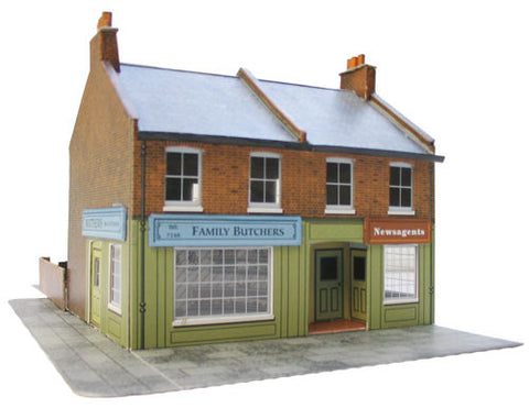 SQC7  Red Brick Terrace Corner Shop OO scale