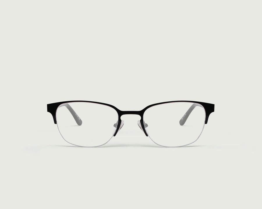Alber Eyeglasses browline black metal front