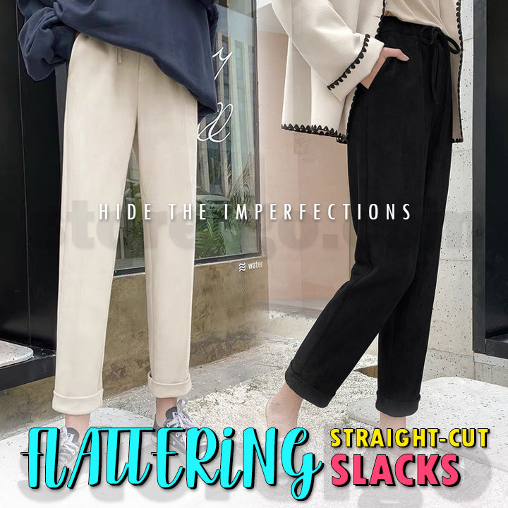Flattering Straight-Cut Slacks (Available Size From S ~ 2XL)