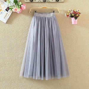 2019 Women 3 Layers Tulle Mesh Skirt