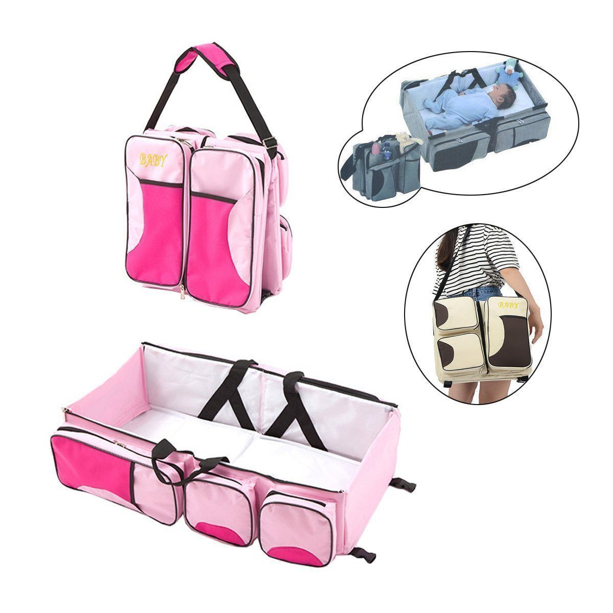 3 In 1 Premium Portable Diaper Bag Crib