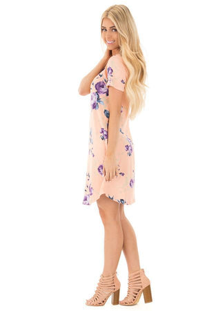 Casual Floral Mini Dress With Pockets