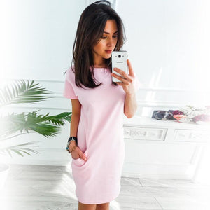 Casual Short Sleeve Dress With Pockets