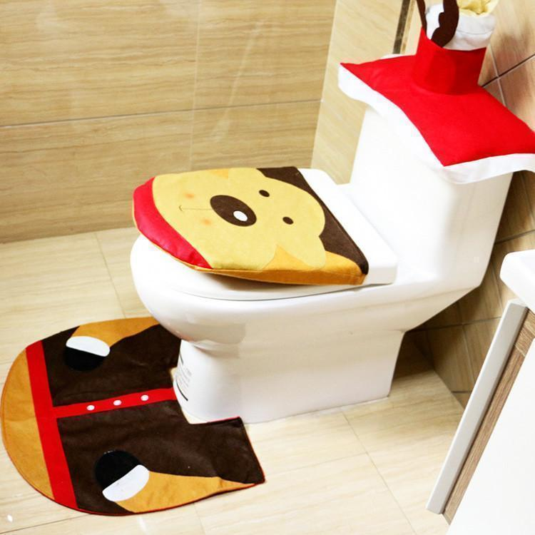 Christmas Toilet Seat Carpet Bathroom  Decorations