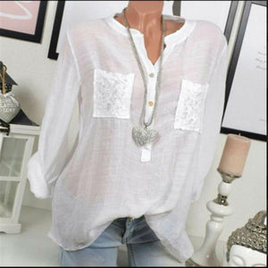 Lace Chiffon Roll Up Long Sleeve Shirt