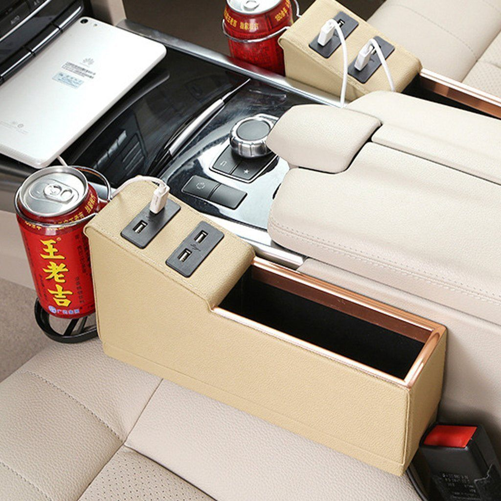 Leather Car Organizer Seat (**With 4 USB Charger Ports**) Console Gap Filler Side With Cup Holder