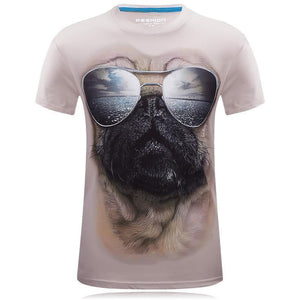 Men's 3D Pug W/Sunglasses T-Shirt