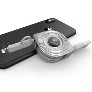 Retractable 2 In 1 USB Cable + Micro USB Cables For IPhone & Micro USB
