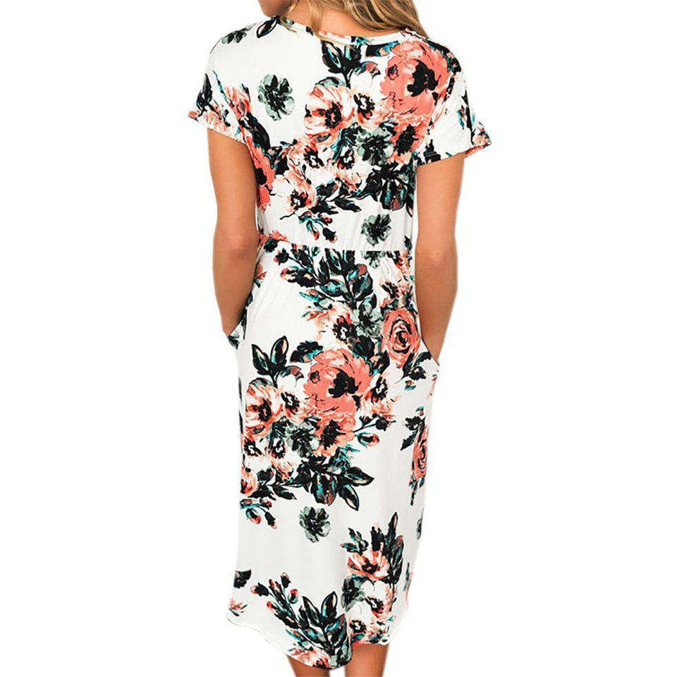 Short Sleeve Floral Midi Dress With Pockets