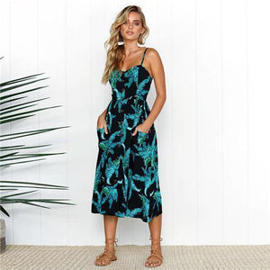 Summer Floral Beach Dress With Pockets
